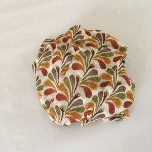 Vintage Orange Green Leafy Circle Scarf